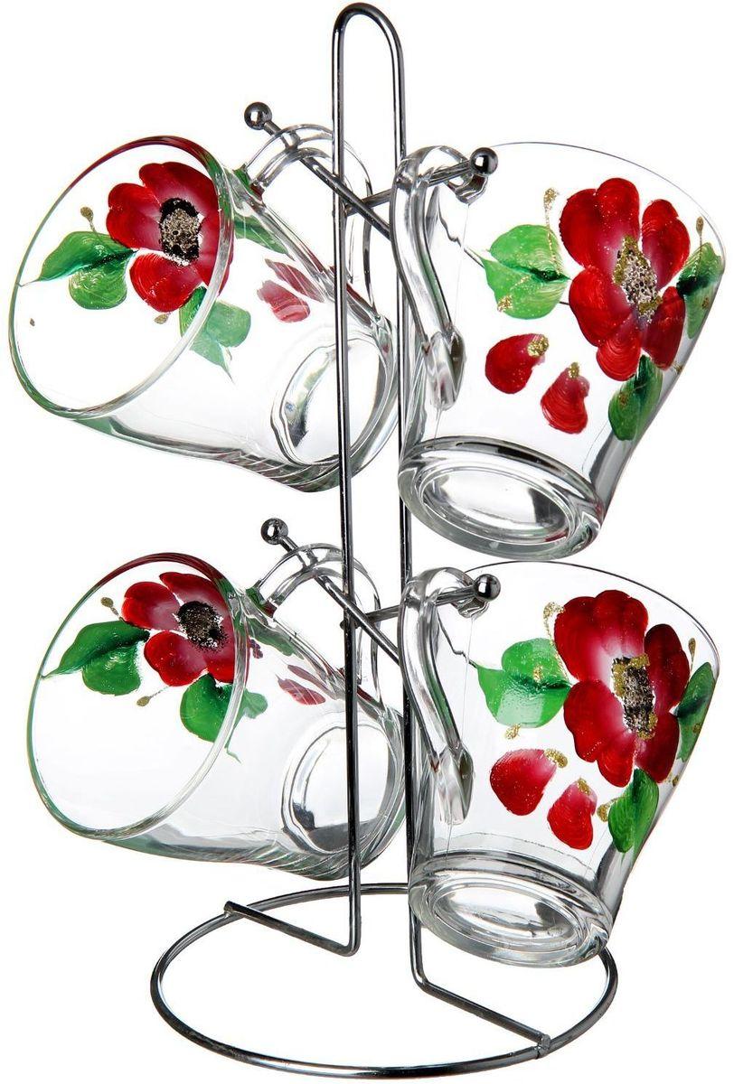 Набор кружек Хрустальный звон, на подставке, 250 мл, 5 предметов. 12755521275552