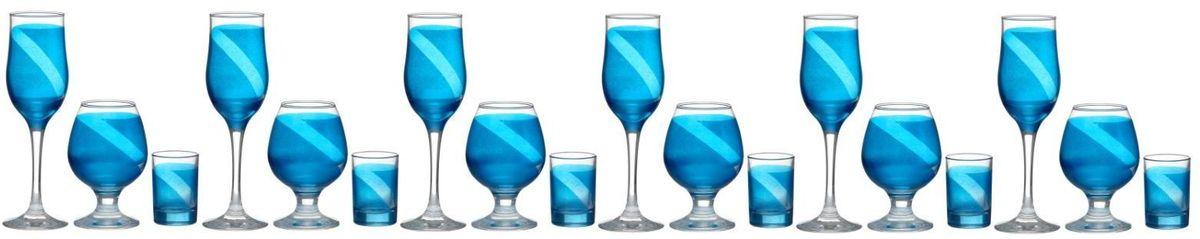 Набор бокалов и стопок Винт, цвет: синий, 18 предметов1364716