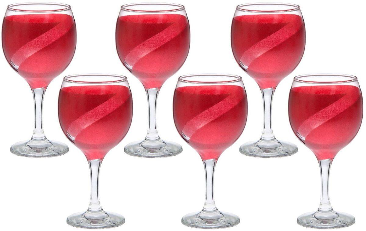 Набор фужеров для вина Хрустальный звон Бистро, цвет: красный, 290 мл, 6 шт2067790