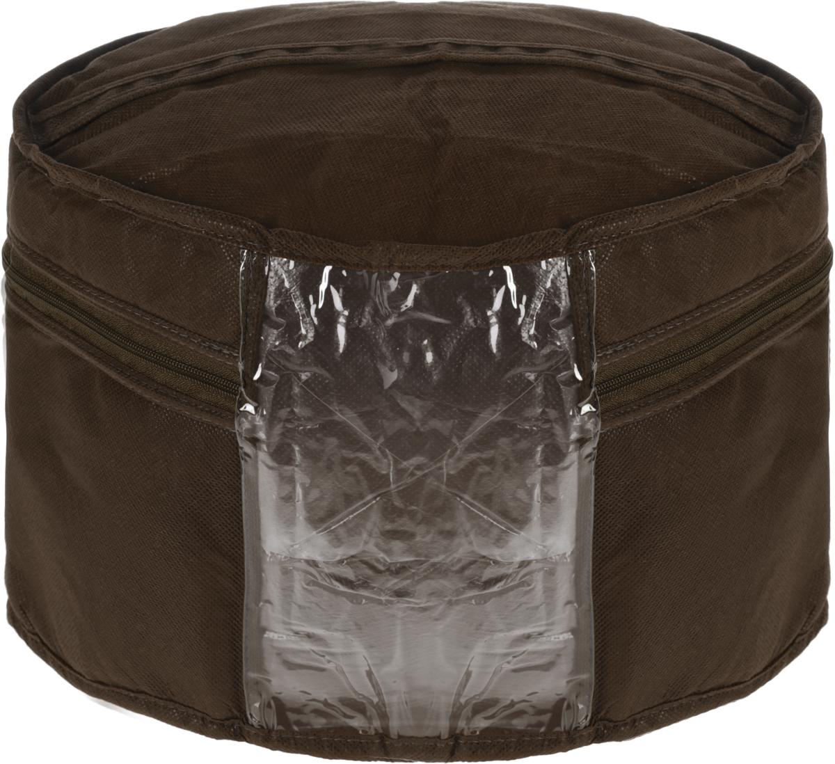 Кофр для головных уборов Все на местах Minimalistic, цвет: темно-коричневый, 35 х 20 см1015006.Кофр для вещей Все на местах Minimalistic изготовлен из сочетания спанбонда и ПВХ. Дышащая ткань позволяет вещам проветриваться, но препятствует проникновению пыли и насекомых. В стенках уплотнитель, что позволяет кофру держать форму. Прозрачная вставка из пластика позволяет видеть, что внутри. Модель снабжена удобной ручкой и надежной молнией. Застегивается на застежку-молнию. Размеры: 35 х 20 см.