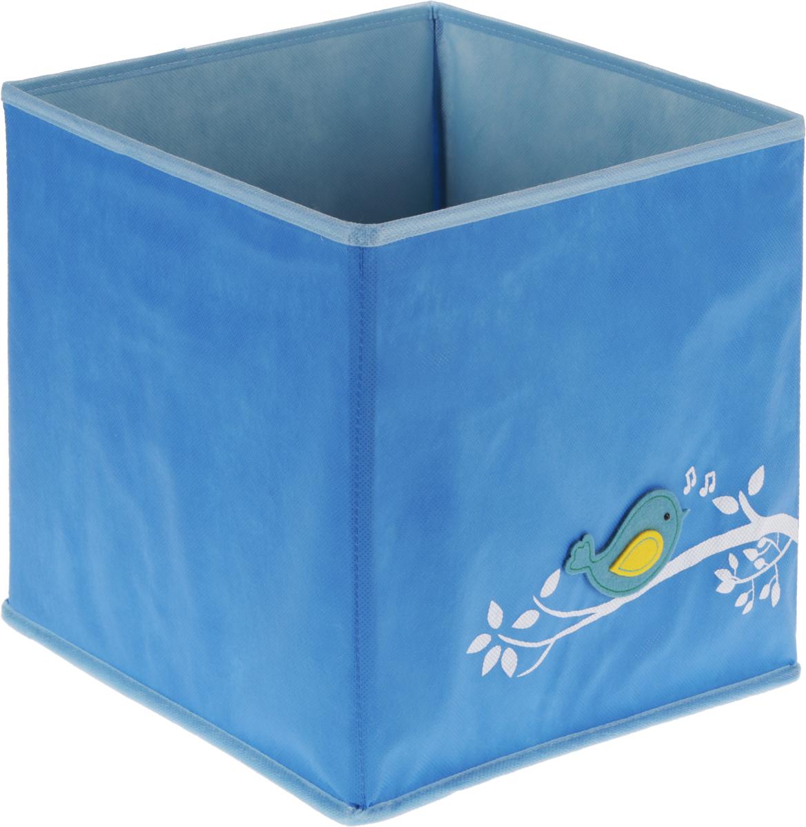 Кофр для вещей и игрушек Все на местах Чик-Чирик, детский, цвет: голубой, 30 х 30 х 30 см1074037.Кофр для вещей и игрушек Все на местах Чик-Чирик сшит из прочного спанбонда, стенки укреплены пластиком. Фирменная фетровая аппликация - птичка на ветке, задает тон всей коллекции. Модель дополнена пластиковым съемным дном и застежкой-молнией, при помощи чего кофр легко можно сложить. Яркий вместительный короб для игрушек позволит держать в порядке игрушки на каждый день, которыми ребенок часто пользуется. Его можно протирать мыльной губкой, он не размокнет и не потеряет форму. Размеры: 30 х 30 х 30 см.