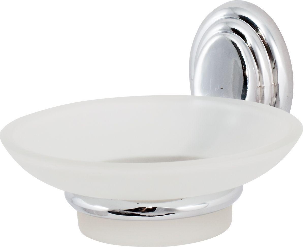 Держатель мыльницы Del Mare 3100, цвет: хром3102Практичный и стильный аксессуар для ванной комнаты. Хромированный металлический держатель не подвержен коррозии, а мыльница из матового стекла легко отмывается от загрязнений.