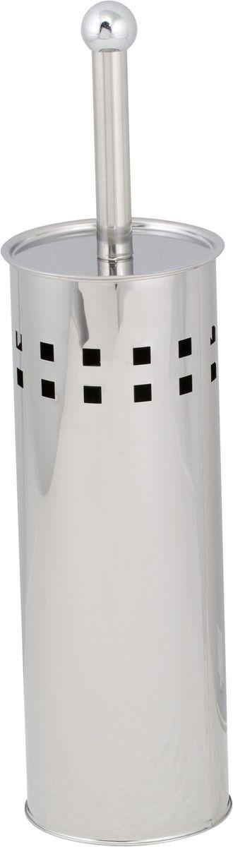 Ершик для унитаза Del Mare, с подставкой, цвет: хром. P80319201Туалетный ершик Del Mare в красивой подставке отлично впишется в интерьер любой ванной комнаты. Все изделие выполнено в цилиндрической форме, устойчиво и не скользит по поверхности. Качественная нержавеющая сталь надежно защищена от коррозии и различных механических повреждений. Ручка оснащена плотно прилегающей к корпусу крышкой и очень практична в использовании. Подставку можно мыть обычной мокрой тряпкой.