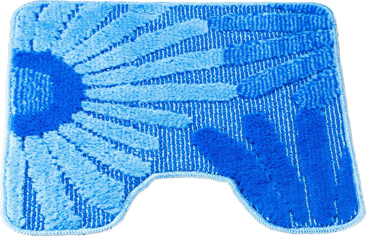 Коврик для туалета Swensa Fiori, цвет: синий, голубой, 50 х 50 смBA900Приятно после водных процедур стать босыми ногами не на холодный кафель, а на мягкую пушистую поверхность. А потому коврик – незаменимый атрибут в ванной комнате. Коврик Fiori с жизнерадостным рисунком в виде соцветий, выполнен в нейтральной природной цветовой гамме, изготовлен из полипропилена – материала, устойчивого к истиранию, долговечного и не боящегося влаги. Изделие быстро сохнет, допускается машинная стирка. Нескользящая подложка обезопасит владельцев от случайных падений.
