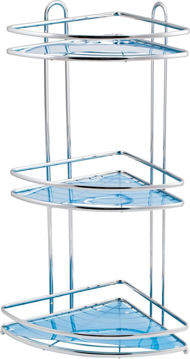 Полка для ванной Swensa Премиум, 3-ярусная, угловая, цвет: хромUP210DFТрёхъярусная угловая полка для ванной Swensa Премиум, выполненная из хромированной стали c хромо-никелиевым покрытием, прекрасно подойдет для ванной комнаты. Удобная и вместительная, полка имеет возможность настенной установки. Благодаря оптимальному расстоянию между полками (25 см), очень удобна для хранения и использования шампуней, гелей и кремов. Съемные вкладыши голубого цвета позволяют размещать на полке мелкие предметы. Полка крепится к стене при помощи двух саморезов, которые входят в комплект.Благодаря компактным размерам полка не займет много места и позволит вам удобно и практично хранить предметы домашнего обихода. Надежная конструкция, высококачественные материалы обеспечивают долговременное её использование в помещениях с высокой влажностью.