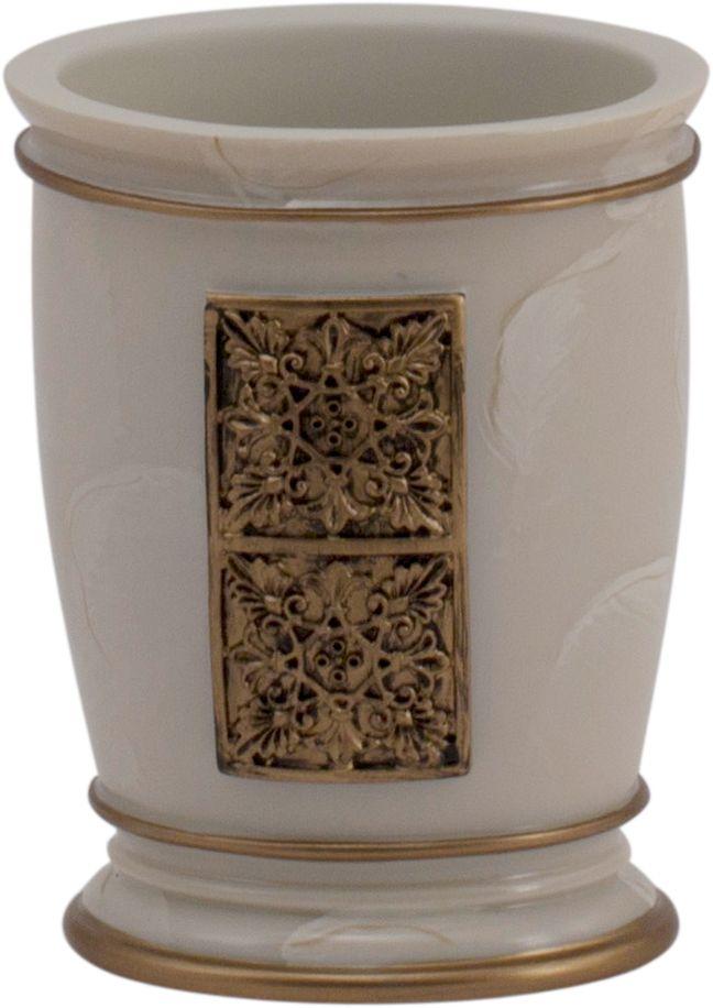 Стакан для ванной Swensa Синтра, цвет: слоновая костьES-412Стакан для ванной Swensa Синтра цвета слоновой кости с рельефной контрастной отделкой— отличное решение для украшения интерьера любой ванной комнаты. Изделие выполнено из полирезина и отличается экологичностью, высокими прочностными характеристиками, химической стойкостью, продолжительным сроком эксплуатации. Этот декоративный аксессуар, предназначенный для хранения зубных щеток, удобен в использовании и не занимает много места.