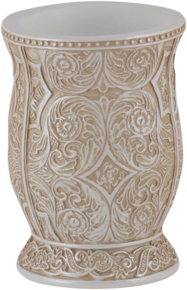 Стакан для ванной Swensa Алора, цвет: светло-бежевыйSWT-4060CСтакан Алора – изделие привлекательной формы с необычным декором. Богатые флористические узоры, изображенные на нем, эффектно смотрятся в классическом интерьере ванной комнаты. Изделие изготовлено из полирезина - современного материала, не имеющего пор и отличающегося гигиеничностью и прочностью. Поверхность изделия легко очищается раствором воды с мылом.