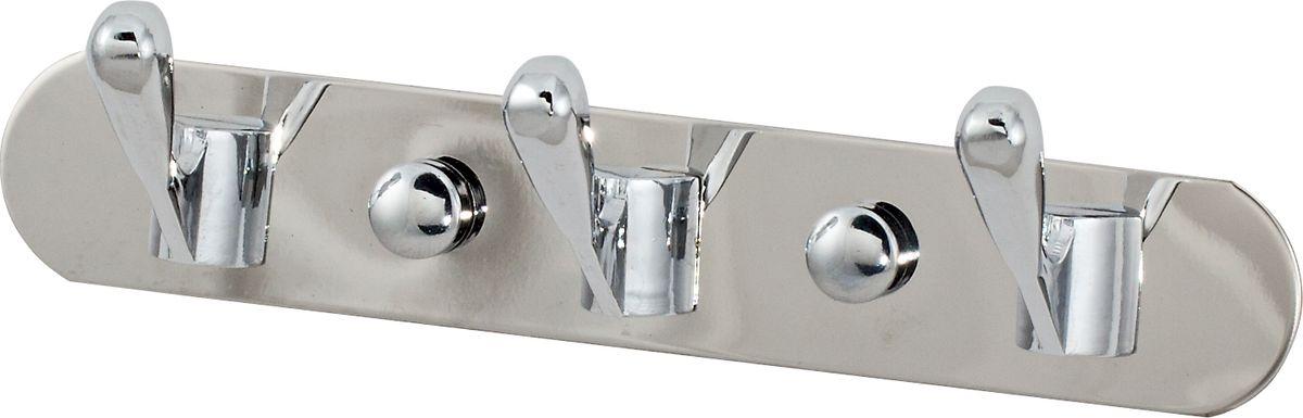 Крючки на планке Del Mare, 3 крючка, цвет: хром, 16,5 смК2513Крючки 3 шт на планке для ванной комнаты