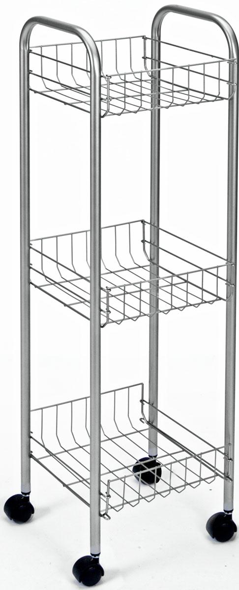 Этажерка 3-х уровневая Toronto, 23 x 23 x 83 см10503Этажерка Toronto предназначена для использования в любых помещениях. Идеально подходит для использования на кухнях, ванных комнатах. Легко перемещается с помощью колесиков. Характеристики: Материал: сталь с поитермическим покрытием. Размер этажерки: 23 см х 23 см х 83 см. Размер полки: 20 см х 20 см х 8 см. Размер упаковки: 85 см х 24 см х 7 см.