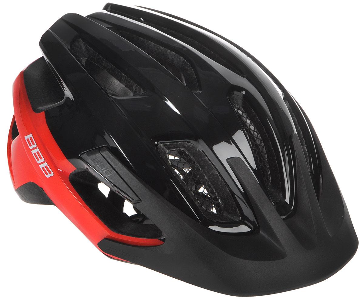 Шлем летний BBB Kite, со съемным козырьком, цвет: черный, красный. Размер MBHE-29Шлем BBB Kite, предназначенный для велосипедистов, скейтбордистов и роллеров, снабжен настраиваемыми ремешками для максимально комфортной посадки. Система TwistClose - позволяет настроить шлем одной рукой. Увеличенное количество вентиляционных отверстий гарантирует отличную циркуляцию воздуха на разных скоростях движения при сохранении жесткости, а отверстия для вентиляции в задней части шлема предназначены для оптимального распределения потока воздуха. Шлем оснащен съемными мягкими накладками с антибактериальными свойствами и съемным козырьком. Внутренняя часть изделия изготовлена из пенополистирола. Ее роль заключается в рассеивании энергии при ударе, а низкопрофильная конструкция обеспечивает дополнительную защиту наиболее уязвимых участков головы. Фронтальные отверстия изделия прикрыты мелкой сеткой для защиты от насекомых. Верхняя часть шлема, выполненная из прочного пластика, препятствует разрушению изделия, защищает его от прокола и ...