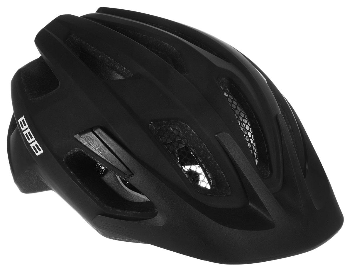 Шлем летний BBB Kite, со съемным козырьком, цвет: черный. Размер MBHE-29Шлем BBB Kite, предназначенный для велосипедистов, скейтбордистов и роллеров, снабжен настраиваемыми ремешками для максимально комфортной посадки. Система TwistClose - позволяет настроить шлем одной рукой. Увеличенное количество вентиляционных отверстий гарантирует отличную циркуляцию воздуха на разных скоростях движения при сохранении жесткости, а отверстия для вентиляции в задней части шлема предназначены для оптимального распределения потока воздуха. Шлем оснащен съемными мягкими накладками с антибактериальными свойствами и съемным козырьком. Внутренняя часть изделия изготовлена из пенополистирола. Ее роль заключается в рассеивании энергии при ударе, а низкопрофильная конструкция обеспечивает дополнительную защиту наиболее уязвимых участков головы. Фронтальные отверстия изделия прикрыты мелкой сеткой для защиты от насекомых. Верхняя часть шлема, выполненная из прочного пластика, препятствует разрушению изделия, защищает его от прокола и ...
