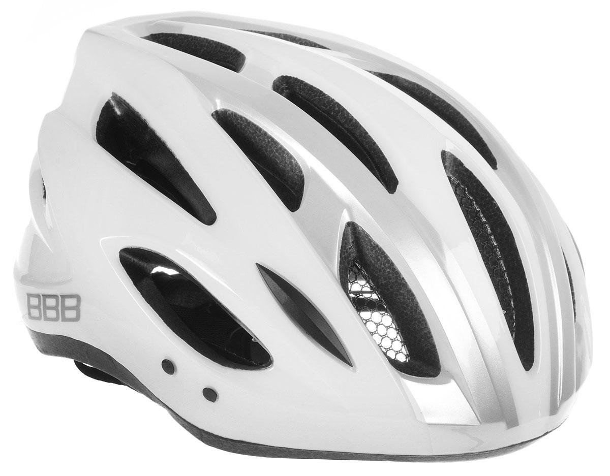 Шлем летний BBB Condor, со съемным козырьком, цвет: белый, серебристый. Размер LBHE-35Шлем BBB Condor, предназначенный для велосипедистов, скейтбордистов и роллеров, снабжен настраиваемыми ремешки для максимально комфортной посадки. Система TwistClose - позволяет настроить шлем одной рукой. Увеличенное количество вентиляционных отверстий гарантирует отличную циркуляцию воздуха на разных скоростях движения при сохранении жесткости, а отверстия для вентиляции в задней части шлема предназначены для оптимального распределения потока воздуха. Шлем оснащен съемными мягкими накладками с антибактериальными свойствами и съемным козырьком. Внутренняя часть изделия изготовлена из пенополистирола. Ее роль заключается в рассеивании энергии при ударе, а интегрированная конструкция защищает голову при ударе. Фронтальные отверстия изделия прикрыты мелкой сеткой для защиты от насекомых. Верхняя часть шлема, выполненная из прочного пластика, препятствует разрушению изделия, защищает шлем от прокола и позволять ему скользить при ударах. ...