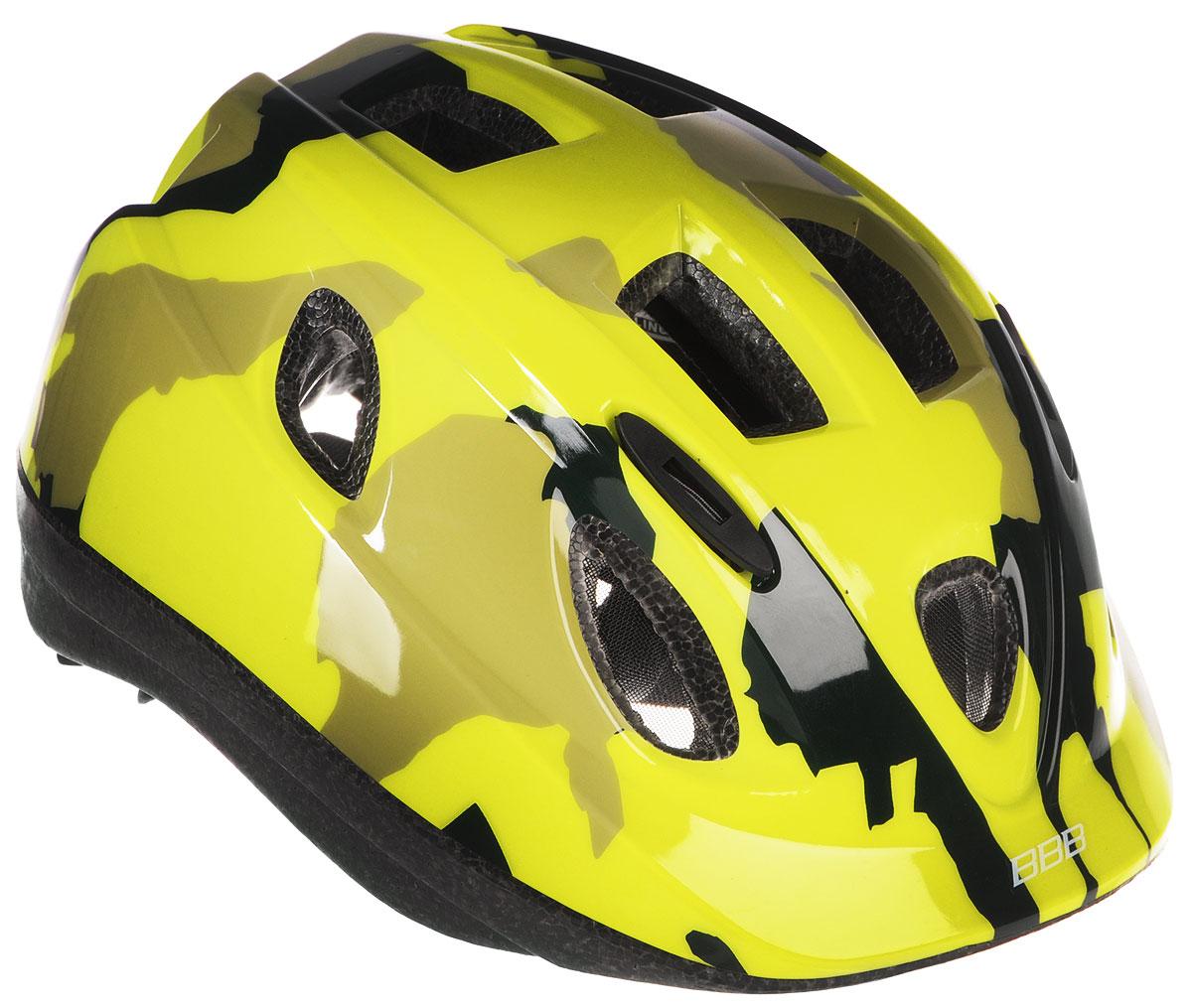 Шлем летний BBB Boogy. Камуфляж, цвет: желтый неон. Размер SBHE-37Детский шлем BBB Boogy. Камуфляж предназначен для велосипедистов, скейтбордистов и роллеров. Изделие снабжено настраиваемыми ремешками для максимально комфортной посадки. Система TwistClose - позволяет настроить шлем одной рукой. Увеличенное количество вентиляционных отверстий гарантирует отличную циркуляцию воздуха на разных скоростях движения при сохранении жесткости. Шлем оснащен съемными мягкими накладками с антибактериальными свойствами. Внутренняя часть изделия изготовлена из пенополистирола. Ее роль заключается в рассеивании энергии при ударе, что защищает голову. Верхняя часть шлема, выполненная из прочного пластика, препятствует разрушению изделия, защищает шлем от прокола и позволять ему скользить при ударах. Способность шлема скользить по поверхности является важной его характеристикой, так как при падении движение уменьшается не сразу, а постепенно, снижая тем самым нагрузку на голову и шею. Надежный шлем с...