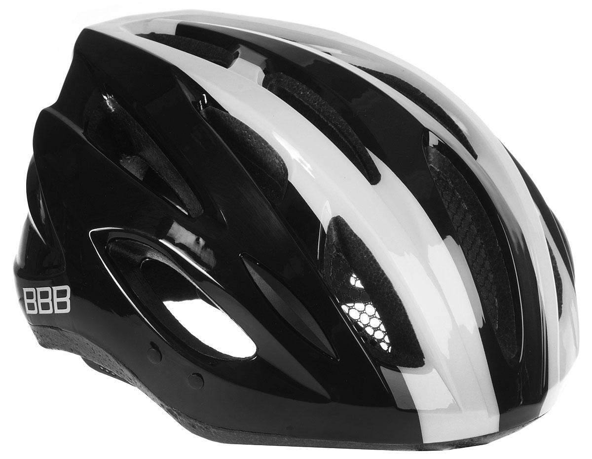 Шлем летний BBB Condor, со съемным козырьком, цвет: черный, белый. Размер L3038Шлем BBB Condor, предназначенный для велосипедистов, скейтбордистов и роллеров, снабжен настраиваемыми ремешками для максимально комфортной посадки. Система TwistClose - позволяет настроить шлем одной рукой. Увеличенное количество вентиляционных отверстий гарантирует отличную циркуляцию воздуха на разных скоростях движения при сохранении жесткости, а отверстия для вентиляции в задней части шлема предназначены для оптимального распределения потока воздуха. Шлем оснащен съемными мягкими накладками с антибактериальными свойствами и съемным козырьком. Внутренняя часть изделия изготовлена из пенополистирола. Ее роль заключается в рассеивании энергии при ударе, а интегрированная конструкция защищает голову при ударе. Фронтальные отверстия изделия прикрыты мелкой сеткой для защиты от насекомых. Верхняя часть шлема, выполненная из прочного пластика, препятствует разрушению изделия, защищает шлем от прокола и позволять ему скользить при ударах. Способность шлема скользить по поверхности является важной его характеристикой, так как при падении движение уменьшается не сразу, а постепенно, снижая тем самым нагрузку на голову и шею. Надежный шлем с ярким дизайном имеет светоотражающие наклейки на задней части изделия. Такой шлем обеспечит высокую степень защиты, а 18 вентиляционных отверстий сделают катание максимально комфортным.Размер: L. Обхват головы: 58-61,5 см.