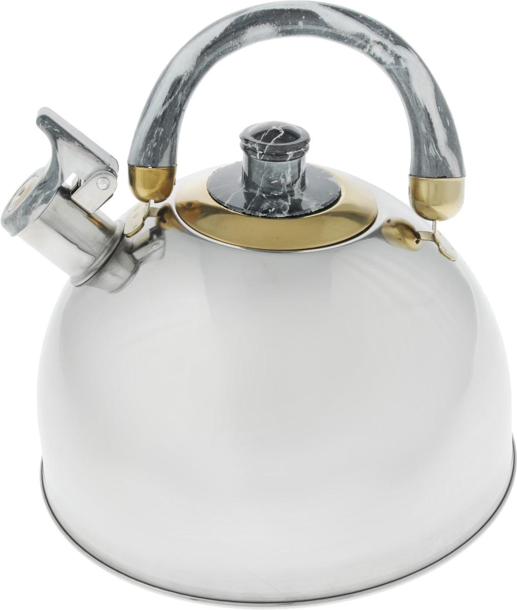 Чайник Bohmann Lite, со свистком, цвет: светло-серый, 4,5 л94672Чайник Bohmann Lite изготовлен из коррозионностойкой стали с зеркальной полировкой. Это материал, зарекомендовавший себя как идеально подходящий для изготовления кухонной посуды, столовых приборов и аксессуаров. Прочность, надежность, стойкость к кислотам и привлекательный внешний вид - основные свойства этого материала. Подвижная ручка, выполненная из термостойкого пластика под мрамор, обеспечивает комфортную эксплуатацию. Носик чайника оборудован свистком, который громким сигналом оповестит о закипании воды. Серия Lite - это посуда из стали, легкая и экономичная. Доступна для широкого круга потребителей, оптимальна по цене и качеству. Подходит для любой кухни, привлекательна по своим характеристикам, цене и практичности. Чайник подходит для электрических, газовых, галогеновых и стеклокерамических плит. Изделие можно мыть в посудомоечной машине. Диаметр (по верхнему краю): 8,5 см. Диаметр основания: 22 см. Высота чайника (без учета ручки и крышки): 12,5 см.