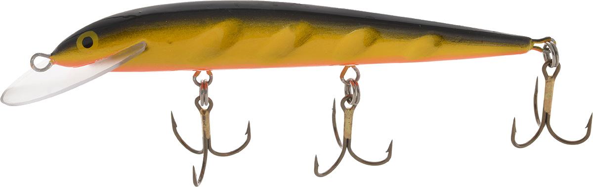 Воблер Blind Paroni, цвет: желтый, черный, длина 13 см, вес 17 г03/1/12Воблер Blind Paroni применяется для ловли хищных видов рыб. Воблер изготовлен из качественного пластика и отличается яркой расцветкой. Три тройника не дадут ускользнуть самой верткой рыбе.