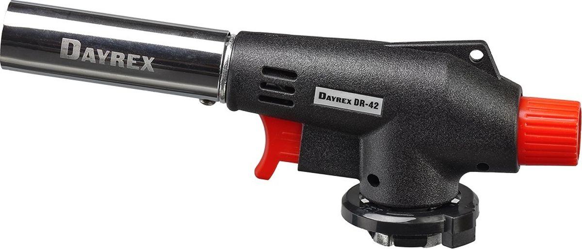 Горелка газовая FOCUSray Dayrex-42 1/10/50DAYREX-42Универсальная газовая горелка. Электронное воспламенение. Температура открытого пламени — 1300°С. Длина открытого пламени — 165 мм. Расход газа - 1,68 г./мин.