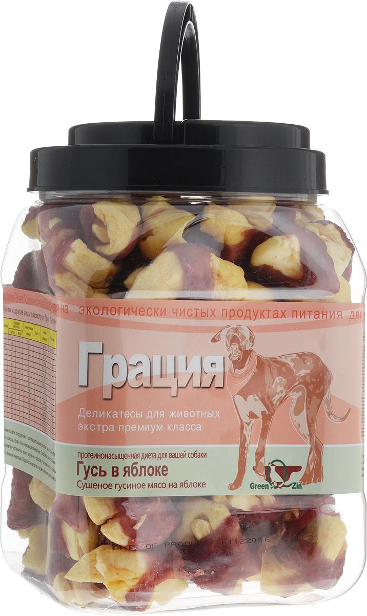 Лакомство для собак GreenQZin Грация, cушеное гусиное мясо на яблоке, 750 г0120710Лакомство для собак GreenQZin Грация - это необычное мясное лакомство с фруктовой начинкой, которое содержит мощнейший витаминно-белковый комплекс. Лакомство содержит яблоки - фруктоза наполняет организм быстрой энергией, увеличивает снабжение клеток мозга питательными веществами, клетчатка фрукта помогает выводить шлаки, пектины улучшают пищеварение, калий способствует работе почек, а железо регулирует кровотворение. Витамины вместе с марганцем, медью и растительными антибиотиками-фитонцидами укрепляют защитные силы организма. Деликатес не содержит консервантов, красителей, гормонов, антибиотиков и ГМО. Не вызывает аллергий. Ваш любимец будет наслаждаться свободой движений, с присущей только ему природной грацией и изяществом. Товар сертифицирован.