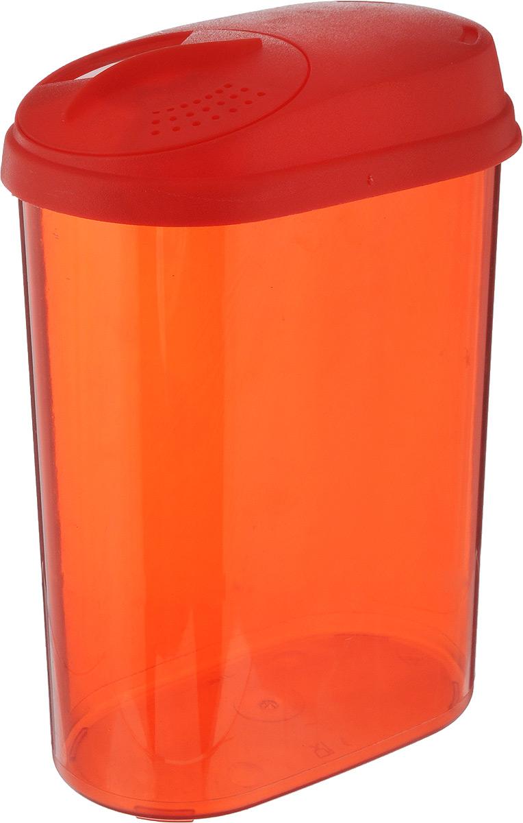 Банка для сыпучих продуктов Giaretti, с дозатором, цвет: красный, 1,6 лGR3611МИКС_красныйБанка Giaretti, выполненная из высококачественного пластика, предназначена для хранения круп, сахара, макаронных изделий и других сыпучих продуктов. Плотно прилегающая крышка не пропускает запахи содержимого в шкаф для хранения, при этом продукт не теряет своего аромата. Двойной дозатор предназначен для мелких и крупных сыпучих продуктов. Можно мыть в посудомоечной машине. Объем: 1,6 л. Размер (по верхнему краю): 14,5 x 8,5 см. Высота (с учетом крышки): 20,5 см.
