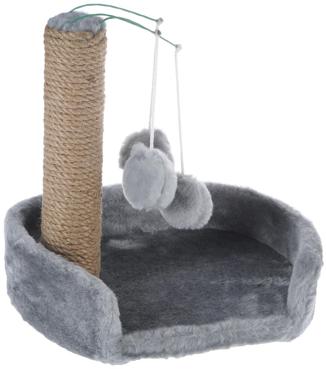 Когтеточка для котят Меридиан, с лежанкой, цвет: светло-серый, бежевый, 34 х 26 х 34 см0120710Когтеточка Меридиан предназначена для стачивания когтей вашего котенка и предотвращения их врастания. Она выполнена из ДВП и ДСП и обтянута искусственным мехом. Точатся когти о столбик из джута. Когтеточка оснащена подвесными игрушками, привлекающими внимание котенка. Внизу имеется спальное место.Когтеточка позволяет сохранить неповрежденными мебель и другие предметы интерьера.