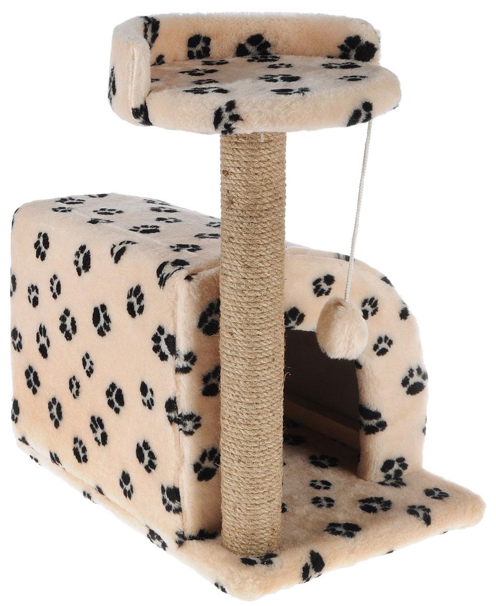Домик-когтеточка Меридиан, полукруглый, цвет: бежевый, черный, 54 х 40 х 59 смД518Ла_бежевый/черные лапкиДомик-когтеточка Меридиан выполнен из высококачественного ДВП и ДСП и обтянут искусственным мехом. Изделие предназначено для кошек. Ваш домашний питомец будет с удовольствием точить когти о специальный столбик, изготовленный из джута. А отдохнуть он сможет либо на полке, либо в домике. Изделие снабжено подвесной игрушкой. Домик-когтеточка Меридиан принесет пользу не только вашему питомцу, но и вам, так как он сохранит мебель от когтей и шерсти. Общий размер: 54 х 40 х 59 см. Размер домика: 36 х 36 х 32 см. Размер полки: 27 х 26 см.