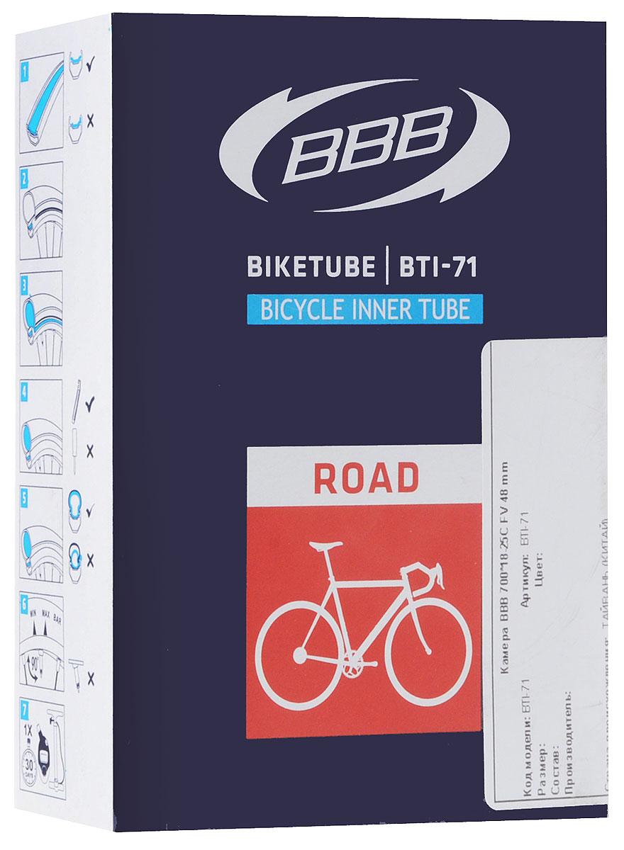 Камера велосипедная BBB, 28, 18-25C FV, 48 ммMHDR2G/AКамера BBB изготовлена из долговечного резинового компаунда. Никаких швов, которые могут пропускать воздух. Достаточно большая для защиты от проколов и достаточно небольшая для снижения веса. Велосипедные камеры - обязательный атрибут каждого велосипедиста! Никогда не выезжайте из дома на велосипеде, не взяв с собой запасную велосипедную шину!Диаметр колеса: 28.Допустимый размер сечения покрышки: 18-25.Велониппель (Presta): 48 мм.Толщина стенки: 0,87 мм.