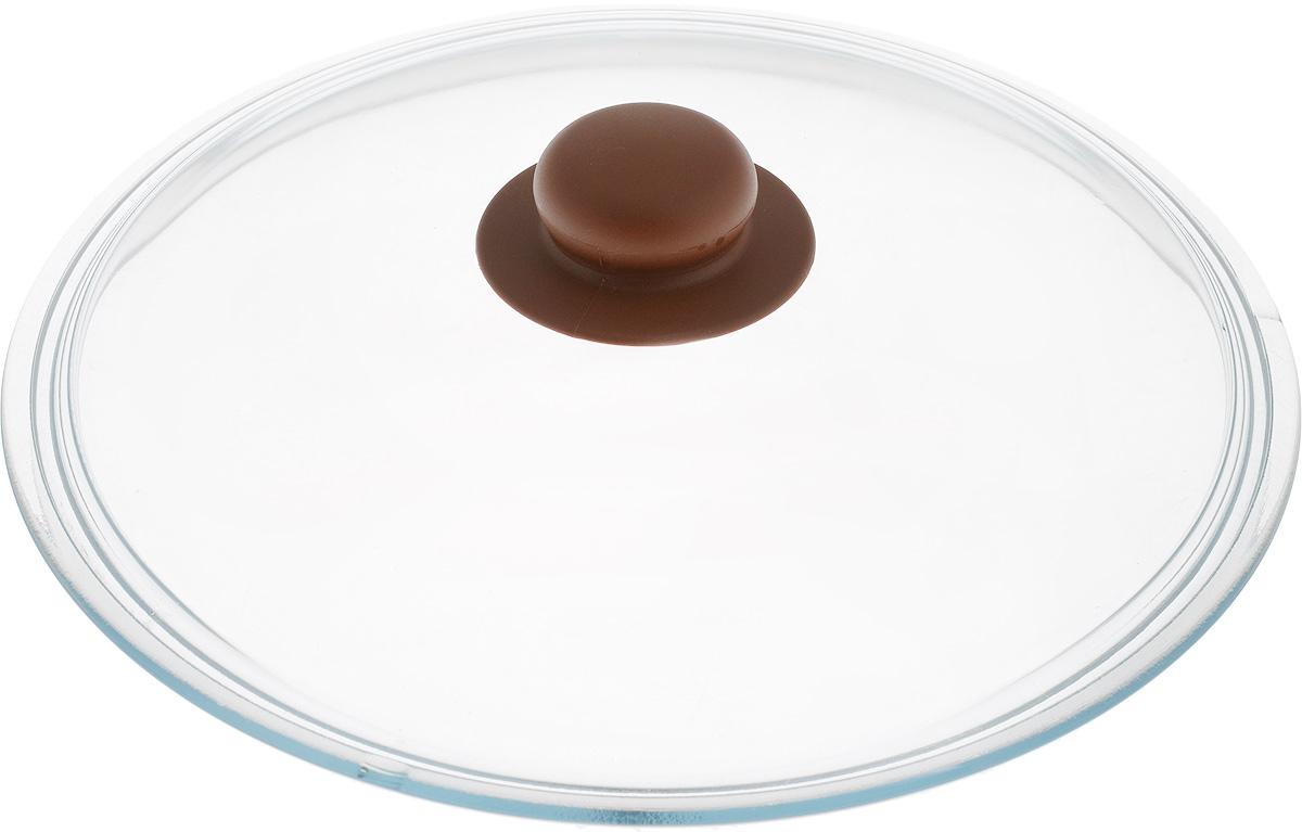 Крышка NaturePan, цвет: коричневый, прозрачный. Диаметр 26 смЛ4881Крышка NaturePan изготовлена из термостойкого и экологически чистого стекла с пластиковой ручкой. Изделие удобно в использовании и позволяет контролировать процесс приготовления пищи. Можно мыть в посудомоечной машине. Диаметр крышки: 26 см. Диаметр ручки: 4,5 см. Высота ручки: 2,5 см.