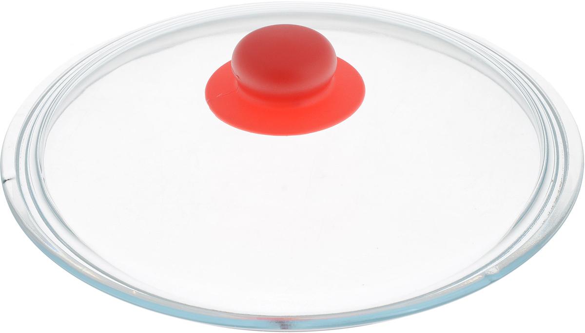 Крышка NaturePan, цвет: красный, прозрачный. Диаметр 24 смЛ4872Крышка NaturePan изготовлена из термостойкого и экологически чистого стекла с пластиковой ручкой. Изделие удобно в использовании и позволяет контролировать процесс приготовления пищи. Можно мыть в посудомоечной машине. Диаметр крышки: 24 см. Диаметр ручки: 4,5 см. Высота ручки: 2,5 см.