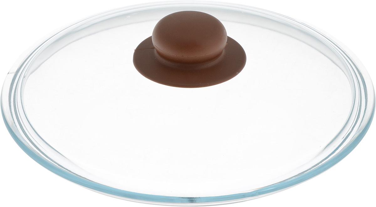 Крышка NaturePan, цвет: коричневый, прозрачный. Диаметр 22 смЛ4879Крышка NaturePan изготовлена из термостойкого и экологически чистого стекла с пластиковой ручкой. Изделие удобно в использовании и позволяет контролировать процесс приготовления пищи. Можно мыть в посудомоечной машине. Диаметр крышки: 22 см. Диаметр ручки: 4,5 см. Высота ручки: 2,5 см.