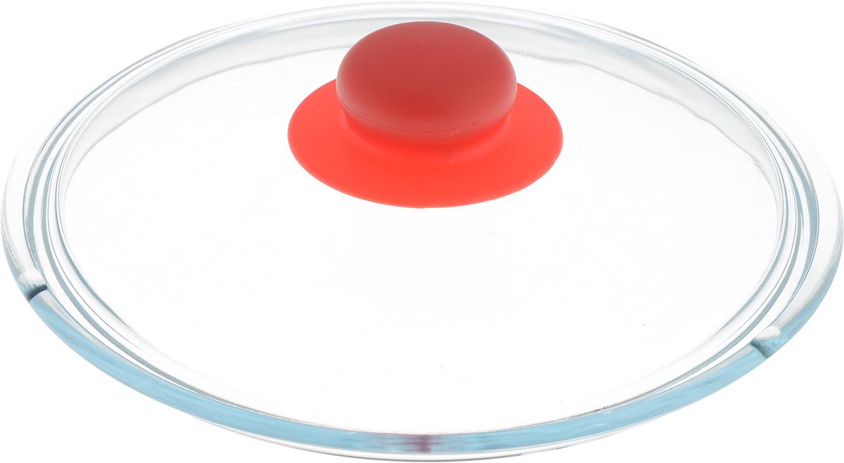 Крышка NaturePan, цвет: красный, прозрачный. Диаметр 20 смЛ4870Крышка NaturePan изготовлена из термостойкого и экологически чистого стекла с пластиковой ручкой. Изделие удобно в использовании и позволяет контролировать процесс приготовления пищи. Можно мыть в посудомоечной машине. Диаметр крышки: 20 см. Диаметр ручки: 4,5 см. Высота ручки: 2,5 см.