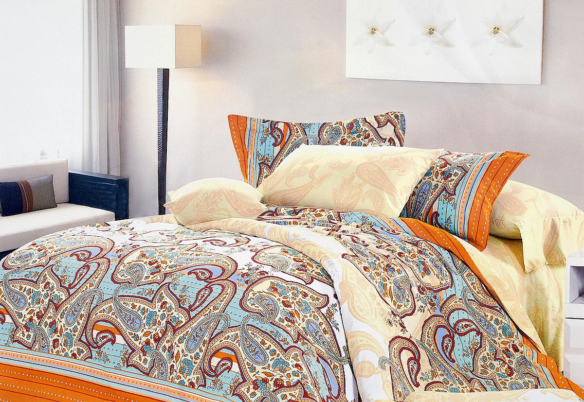 Комплект белья МарТекс Соната, 1,5-спальный, наволочки 50х70, цвет: бежевый, бирюзовый, оранжевый01-0347-1Комплект постельного белья МарТекс Соната состоит из пододеяльника, простыни и двух наволочек и изготовлен из качественного сатина. Постельное белье оформлено оригинальным ярким рисунком и имеет изысканный внешний вид. Сатин - вид ткани, произведенный из натурального хлопка. Материал гладкий (почти, как шелк) и в то же время имеет все свойства хлопка: не аллергенен, прочен, почти не мнется и хорошо гладится. Благодаря натуральному хлопку, постельное белье приобретает способность пропускать воздух, давая возможность телу дышать. Приобретая комплект постельного белья МарТекс, вы можете быть уверенны в том, что покупка доставит вам и вашим близким удовольствие и подарит максимальный комфорт.