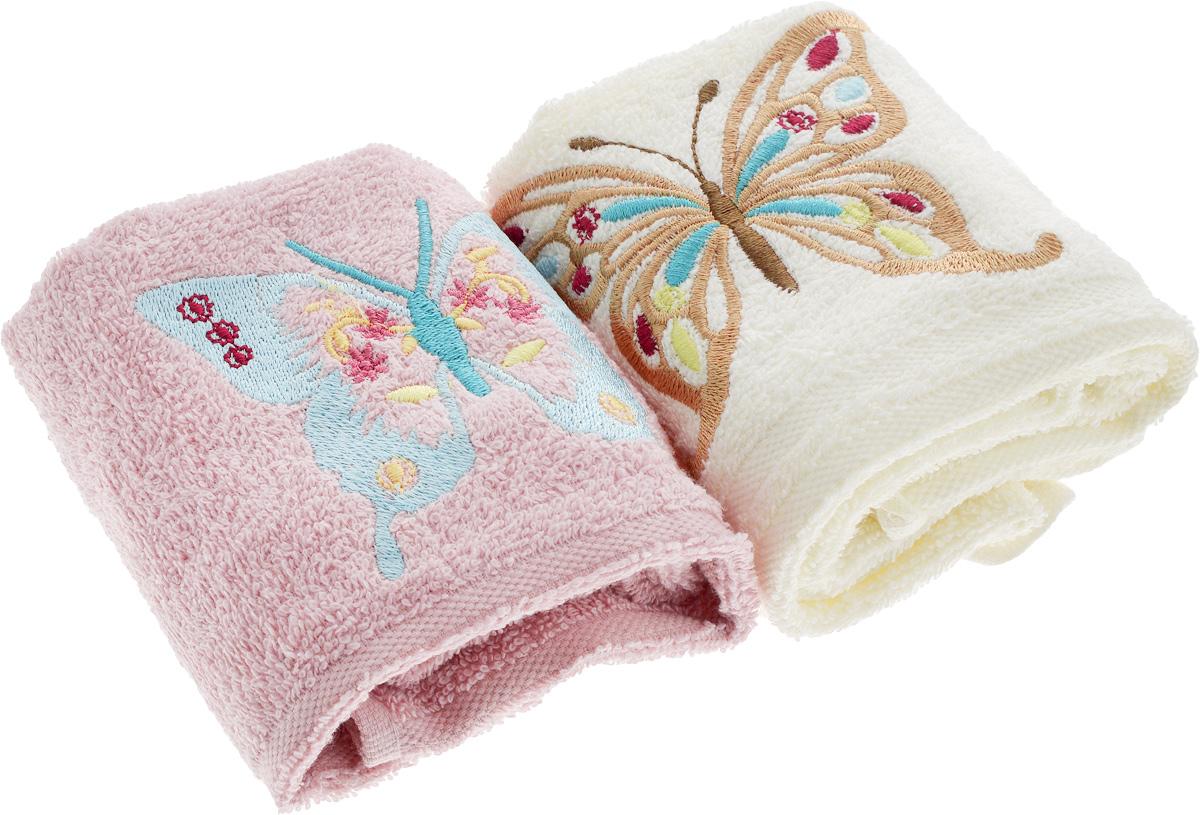 Набор кухонных полотенец Karna Moron, цвет: молочный, розовый, 30 х 50 см, 2 шт718/CHAR002_молочный, розовыйНабор кухонных полотенец Karna Moron, цвет: молочный, розовый, 30 х 50 см, 2 шт