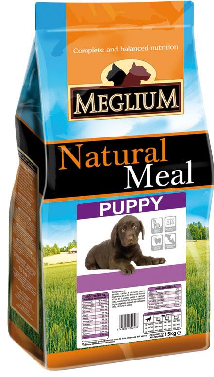 Корм сухой Meglium для щенков, 15 кг64019Состав: дегидрированное мясо (32%, из которого куриного мяса 14% и говядины 10%), кукуруза, пшеница, куриный жир, рыбная мука, сушеная мякоть свеклы (2%), дрожжи, минеральные вещества. Пищевые добавки на кг: 3a672a Витамин A 13500 UI, Витамин D3 950 UI, 3a700 Витамин E 115 мг, E4 пентагидрат сульфата меди 47 мг, E1 карбонат железа 50 мг, E5 оксид марганца 62 мг, E6 моногидрат сульфата цинка 148 мг, E2 йодистый калий 1,2 мг, E8 селенит натрия 0,26 мг. Аналитические компоненты: влага 8%, сырой белок 28%, сырые масла и жиры 16%, сырая зола 8,5%, сырая клетчатка 2,7%. Энергетическая ценность: 3800 кКал/кг.