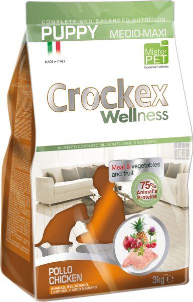 Корм сухой Crockex Wellness для щенков средних и крупных пород, курица с рисом, 3 кг0120710Этот полноценный рацион, дополненный функциональными ингредиентами, поддержит здоровье собаки. Сердцевина ананаса способствует правильному функционированию пищеварительной системы, Гранат и Малина являются превосходными источниками витамина С и богаты полифенолами, антиоксидантами и натуральными укрепляющими веществами с антивозрастным эффектом, которые служат для борьбы со свободными радикалами. Расторопша- лекарственное растение, содержащее силимарин и силибинин, вещества, известные своими противовоспалительными свойствами и эффективно защищающие печень. Пребиотики FOS и MOS помогают модулировать кишечную флору, улучшая таким образом усвоение питательных веществ. Использование риса в качестве первого источника углеводов и свежего мяса цыпленка (15%) обеспечивает высокую перевариваемость и отличную аппетитность рациона.Состав: обезвоженное мясо цыпленка (24%), рис (22%), кукуруза, свежее мясо цыпленка (15%), кукурузная мука, цыплячий жир, рыбная мука, льняное семя (2%), мякоть свеклы, пивные дрожжи, обезвоженные морские водоросли (0,24%), хлорид натрия, экстракт дрожжей (MOS0,16%), фруктоолигосахариды (FOS 0,1%), экстракт юкки (0,0265%), расторопша (Silybum marianum L.) (0,02%), обезвоженная сердцевина ананаса (Ananas sativus L.) (0,02%), обезвоженный гранат (Punica granatum) (0,02%), обезвоженная малина (Rubus idaeus L.) (0,0006%).Добавки на 1 кг продукта - Пищевые добавки: Витамин A 17500 МЕ, Витамин D3 1200 МЕ, Витамин E 145 мг, E4 Сульфат меди пентагидрат47 мг, E1 Карбонат железа 76 мг, E5 Оксид марганца 92 мг, E6 Сульфат цинка моногидрат 192 мг, E2 Йодистый калий 4,6 мг, E8 Селенит натрия15,2 мг.Аналитический состав: Влага 8%, сырой протеин25%, сырые масла и жиры 15%, сырая зола 6,2%,сырые волокна 2,1%, кальций 1,2%, фосфор 0,9%.
