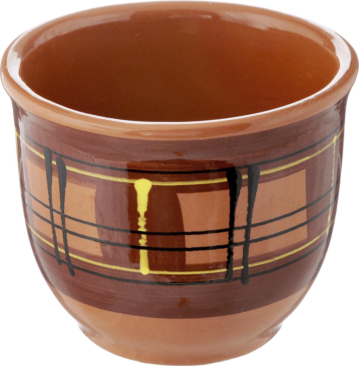 Стакан Борисовская керамика Cтандарт. Полоски, цвет: коричневый, 300 млОБЧ00000577_коричневый/полоскиСтакан Борисовская керамика Cтандарт выполнен из высококачественной глазурованной керамики. Керамика не только сохраняет тепло, она сохраняет и прохладу. Напиток в таком стакане дольше будет холодным. Или горячим, это уже как вы захотите. Яркий дизайн придется по вкусу и ценителям классики, и тем, кто предпочитает утонченность и изысканность. Посуда термостойкая. Можно использовать в духовке и микроволновой печи. Диаметр (по верхнему краю): 10,5 см. Высота стакана: 8,5 см.