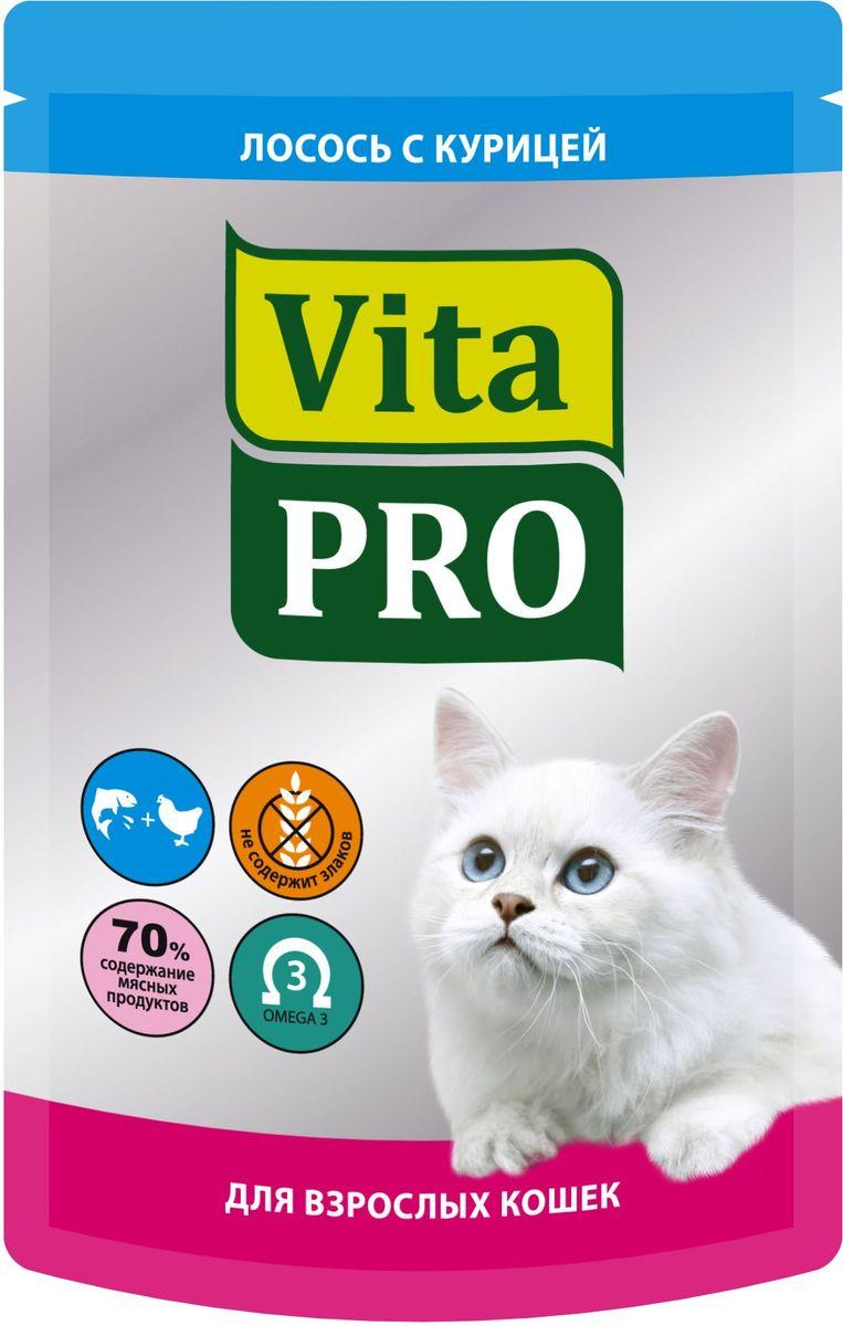 Консервы Vita Pro Мясное меню для кошек от 1 года, курица и лосось, 100 г0120710Мелкорубленные кусочки натурального мяса без овощей и злаков. Входящие в состав Омега-3 жирные кислоты обеспечивают здоровье кожи и шерсти. Без добавления искусственных красителей и усилителей вкуса.