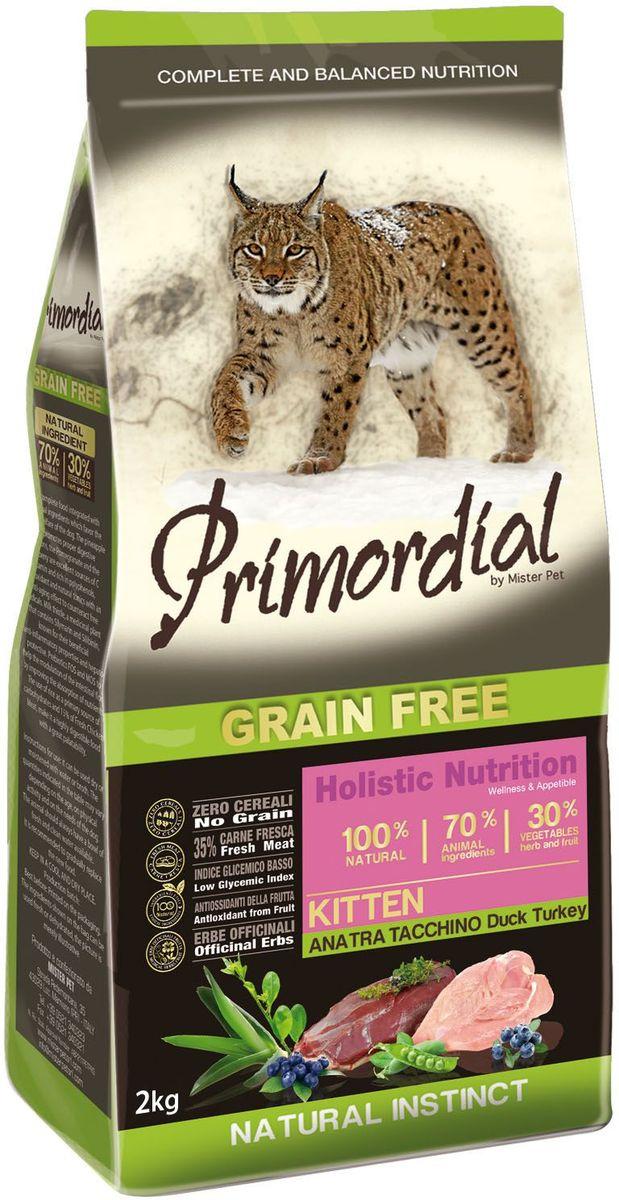 Корм сухой Primordial для котят, с уткой и индейкой, 2 кг0120710Беззерновой корм класса холистик. Специально отобранные виды мяса и рыбы поддерживают низкий гликемический индекс, гарантируют высокую аппетитность и перевариваемость корма.
