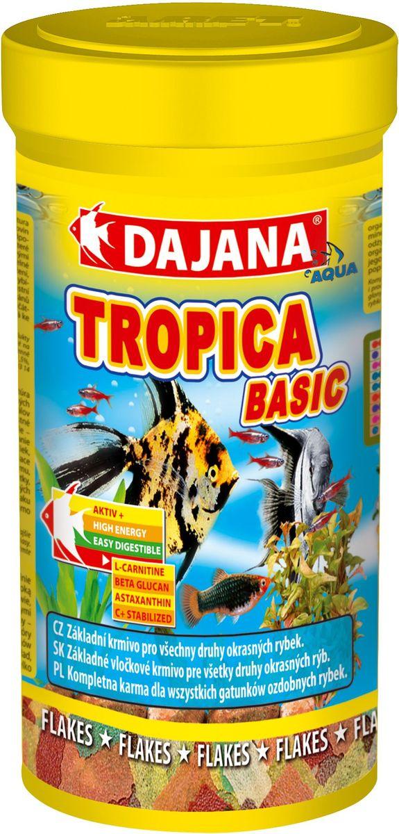 Корм для рыб Dajana Tropica Flakes, 250 мл0120710Комплексный, высококачественный корм для рыбок Dajana Tropica. Состоит из 7-ми видов специальных хлопьев, для всех видов декоративных аквариумных рыбок.