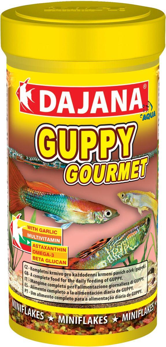 Корм для рыб Dajana Guppy Gourmet Flakes, 100 мл0120710Комплексный хлопьеобразный корм для рыбок, предназначенный для ежедневного кормления гуппи. Корм содержит высокую долю чеснока, белков, витаминов и минералов, способствуя благополучному росту и здоровью рыб. Корм легко принимается и усваивается.
