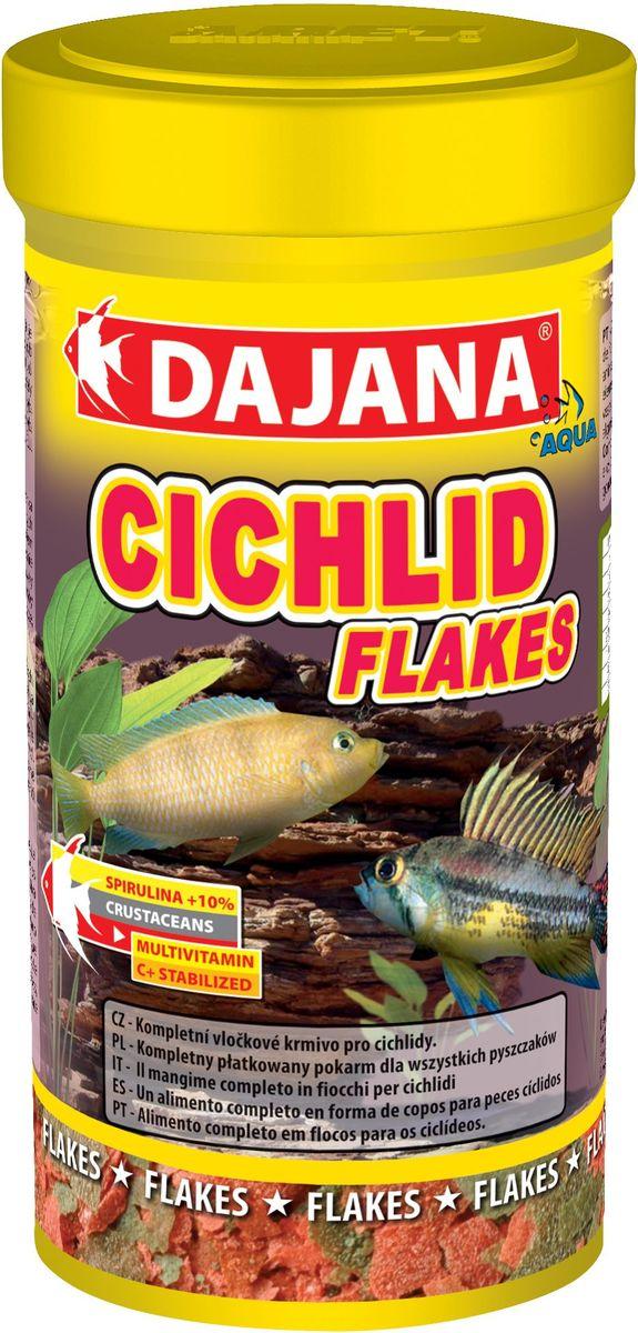 Корм для рыб Dajana Cichlid Flakes, 250 мл0120710Комплексный хлопьеобразный корм для цихлид. Корм состоит из 2-х видов хлопьев и содержит Spirulina и Chlorella укрепляющие иммунитет.