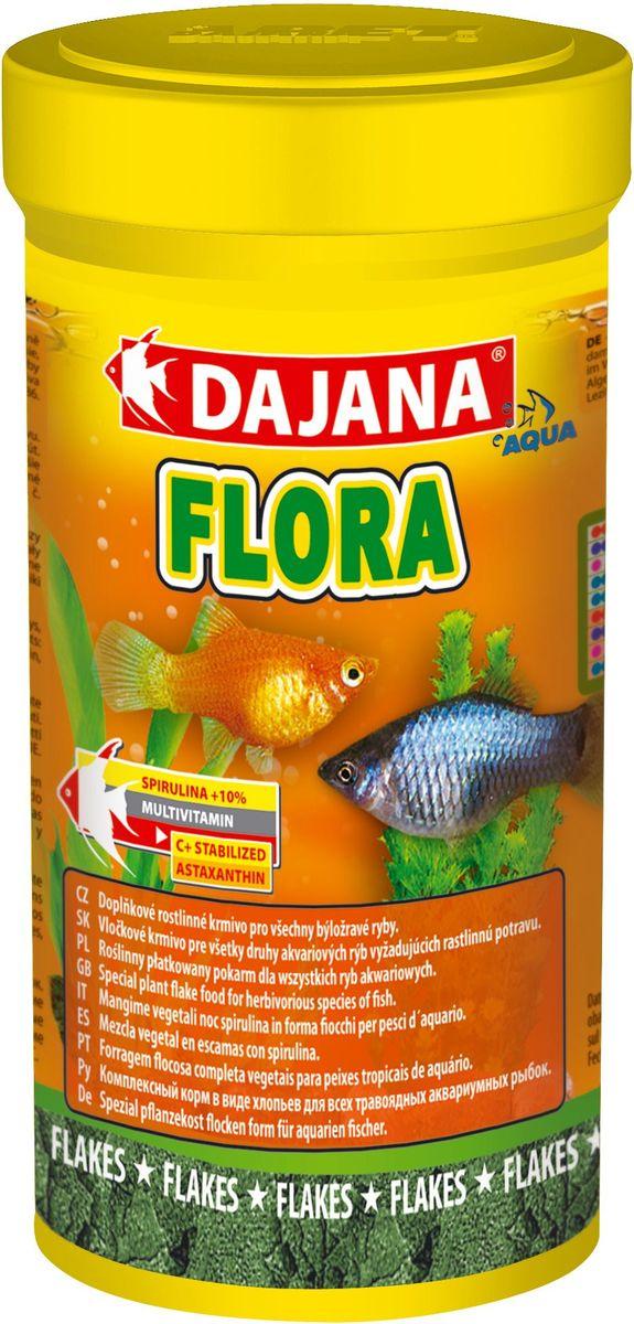 Корм для рыб Dajana Flora Flakes, 250 мл0120710Специальный хлопьеобразный корм для травоядных аквариумных рыб, содержит водоросль Spirulina - природный антиоксидант, благодаря которому, повышается сопротивляемость организма к различным заболеваниям.