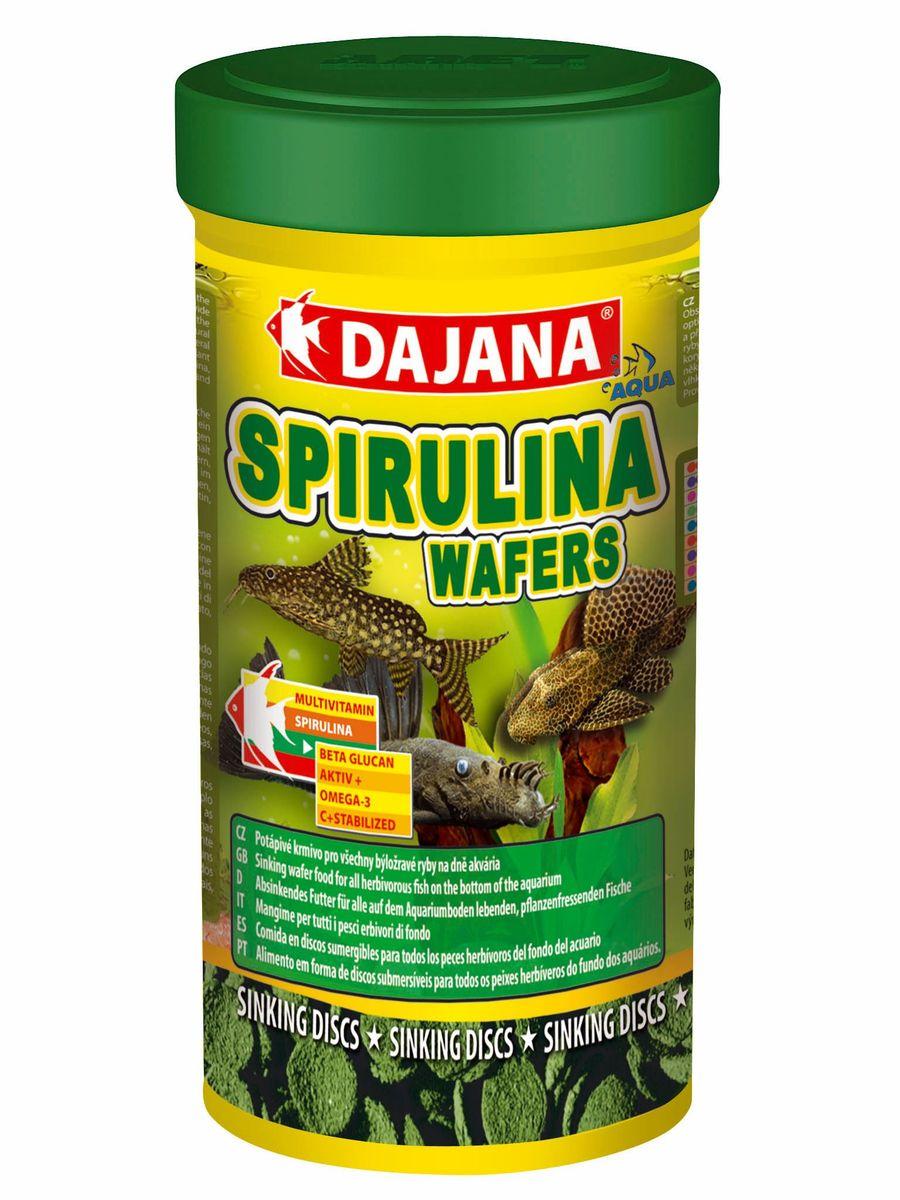 Корм для рыб Dajana Spirulina Wafers, 250 мл0120710Полнорационный корм в виде тонущих дисков для травоядных рыб, питающихся на дне аквариума.