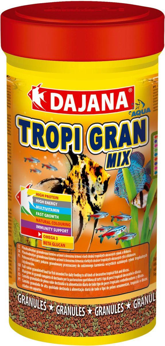 Корм для рыб Dajana Tropi Gran, 250 млDP100BВысококачественный корм для рыбок в виде гранул для всех видов тропических аквариумных рыбок. Идеально подходит для кормления дискусов. Содержит в составе витамины А, E, C, D3, а так же полезные микроэлементы.