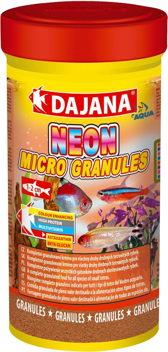 Корм для рыб Dajana Neon Micro Granules, 250 мл0120710Полноценный гранулированный корм премиум-класса для ежедневного кормления неонов и других видов тетр в аквариуме. Корм содержит высокую долю белка, витаминов и минералов для обеспечения роста и здоровья рыб.