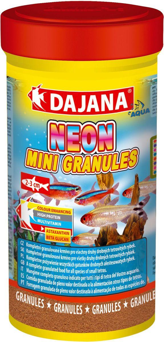 Корм для рыб Dajana Neon Mini Granules, 100 млDP104AПолноценный гранулированный корм премиум-класса, предназначенный для ежедневного кормления неонов и других видов тетр. Корм содержит высокую долю белка, витаминов и минералов для обеспечения роста и здоровья рыб.