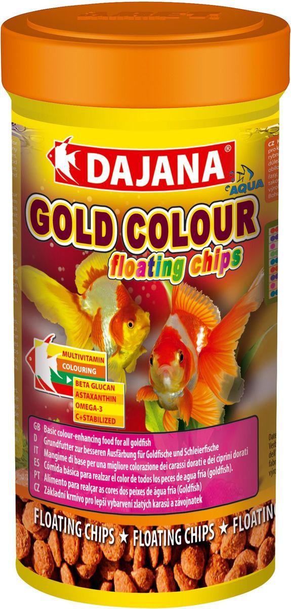 Корм для рыб Dajana Gold Colour Floating Chips, 100 мл0120710Полноценный гранулированный корм в виде плавающих чипсов для золотых рыбок. Ежедневный корм, который усиливает окраску рыб.