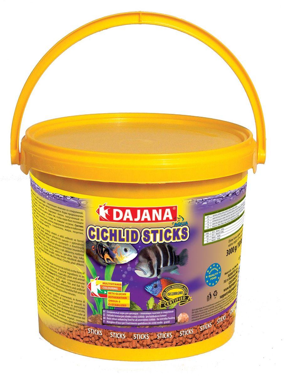 Корм для рыб Dajana Cichlid Sticks, 10 л0120710Основной комплексный корм в виде плавающих палочек – стиксов для ежедневного кормления крупных и средних рыб семейства цихлид содержит широкий спектр натуральных ингредиентов, особенно растительных и животных белков, минералов и натуральных витаминов, а также природный стимулятор иммунной системы бета-глюкан. Обеспечивает правильное развитие рыбы, яркий окрас и дополнительную защиту организма ваших рыбок. Производится только из натуральных ингредиентов высокого качества, хорошо усваивается и не мутит воду в аквариуме.