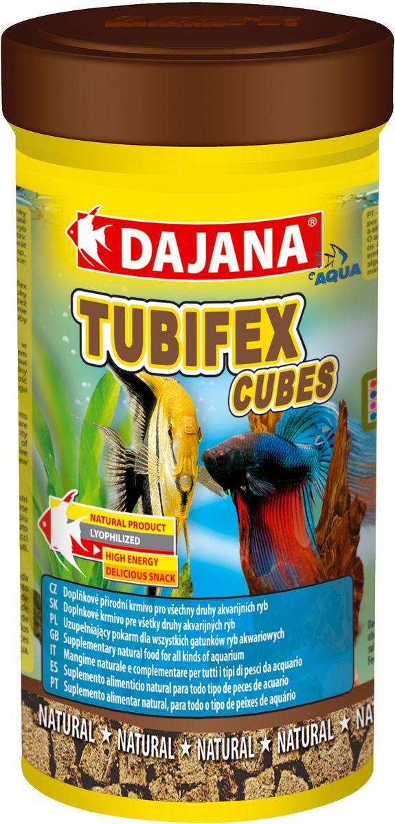 Корм для рыб Dajana Tubifex Cubes, 100 мл0120710Природный натуральный корм из чистого, лиофилизированного трубочника в кубиках. Для всех видов аквариумных рыб.