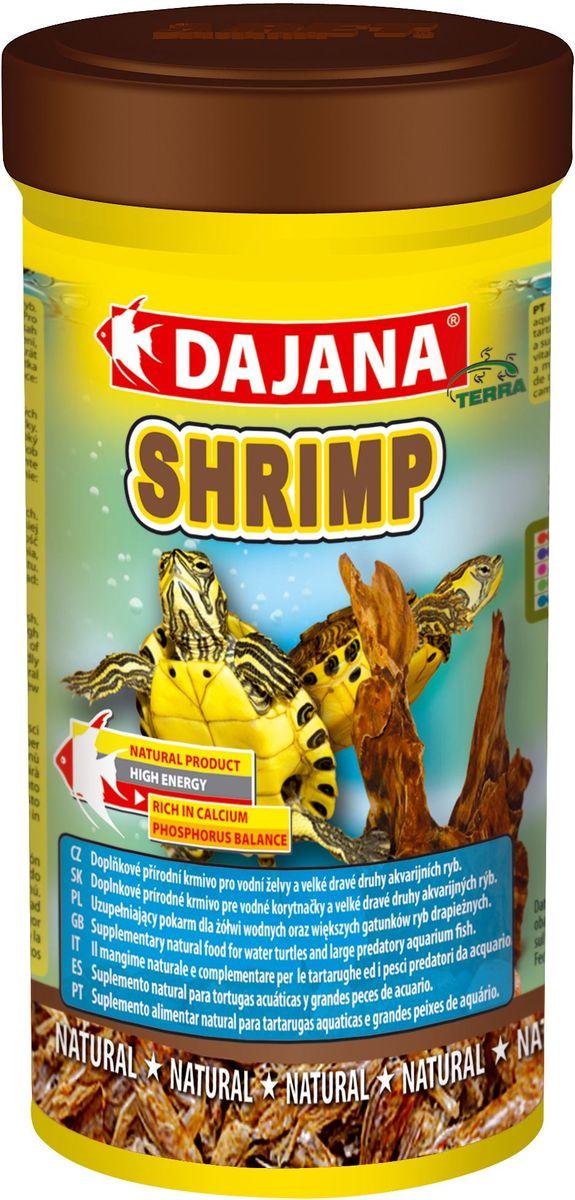 Корм для рептилий Dajana Shrimp, 250 млDP208BПриродный натуральный корм из сушеных креветок с большим содержанием протеинов. Для водных черепах, террариумных животных и морских аквариумов.