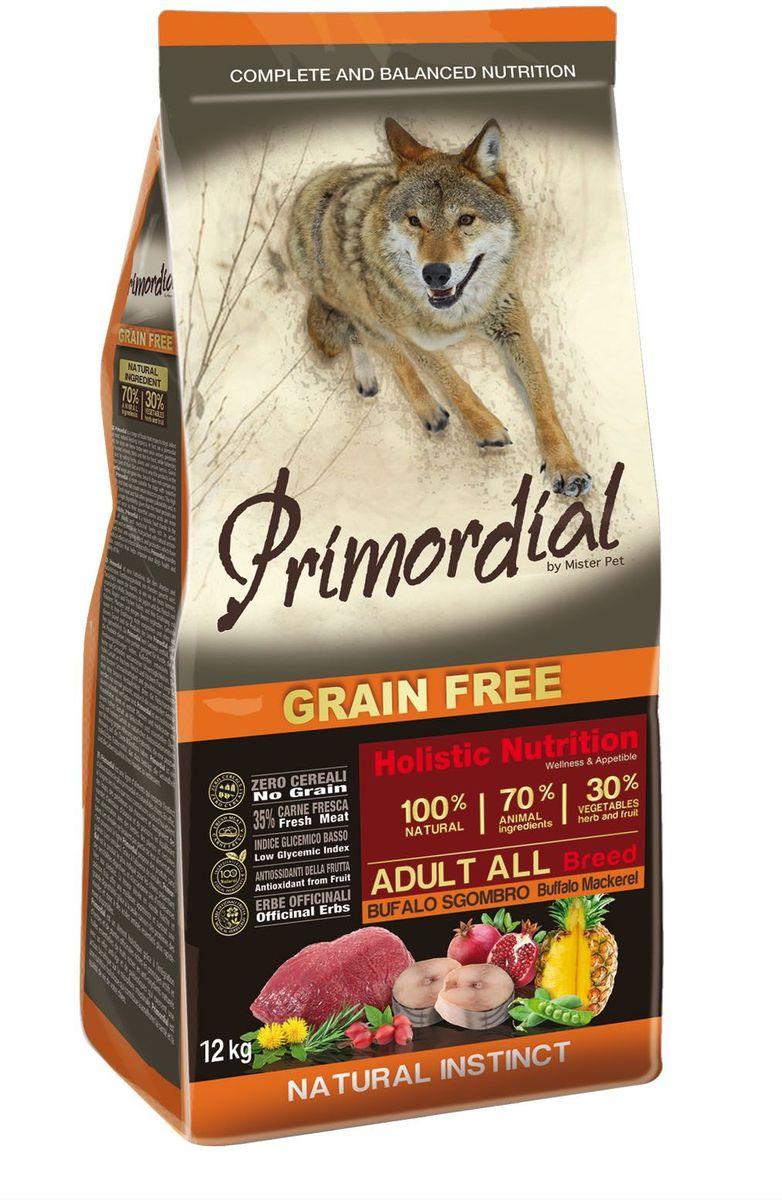 Корм сухой Primordial для собак, беззерновой, буйвол и скумбрия, 12 кг0120710Беззерновой корм класса холистик. Специально отобранные виды мяса и рыбы поддерживают низкий гликемический индекс,гарантируют высокую аппетитность и перевариемость корма.